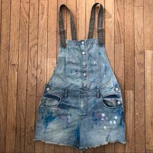 Free People Denim Shorts Overalls Paint Splatter